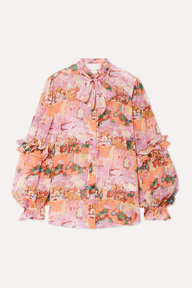 Peter Pilotto Pussy-bow Ruffled Printed Silk-georgette Blouse - Pink