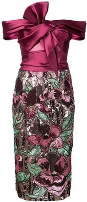 Marchesa off-the-shoulder sequined dress