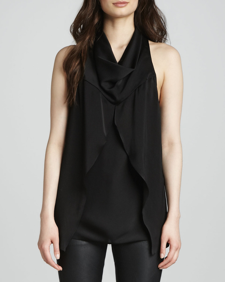 Yigal Azrouel Cut25 by Curtain Cowl-Neck Top with Front Drape