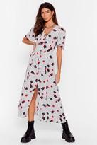 Nasty Gal Womens Heading Button-Down Floral Midi Dress - white - S