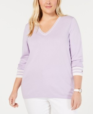 Tommy Hilfiger Plus Size Cotton V-Neck Sweater, Created for Macy's