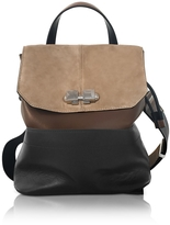 Carven Full Joy Color Block Suede and Leather Large Backpack/Shoulder Bag
