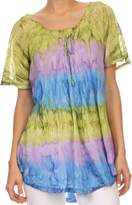 Sakkas 16786 - Monet Long Tall Tie Dye Ombre Embroidered Cap Sleeve Blouse Shirt Top - OSP