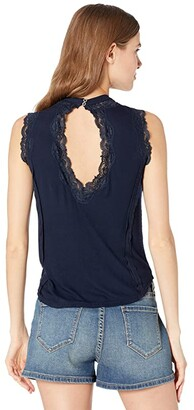 Rock and Roll Cowgirl High Neck Rib Tank with Lace Keyhole 49-9911
