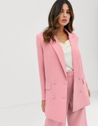 Asos Edition EDITION double breasted jacket-Pink