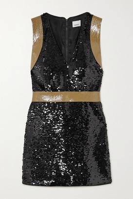 Burberry Oana Tape-trimmed Sequined Crepe Mini Dress - Black