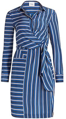 Akris Punto Striped Silk Wrap Dress