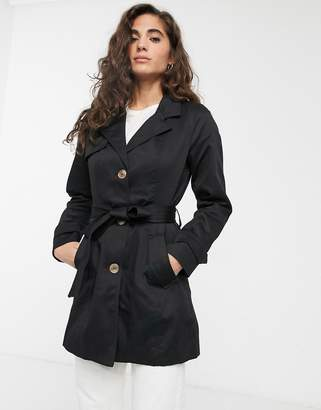 Only Finesse belted short trench coat-Black