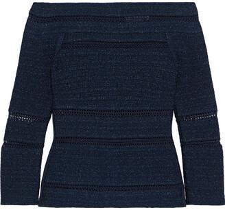 Herve Leger Off-the-shoulder Crochet-trimmed Metallic Bandage Top