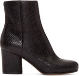 Maison Margiela Black Snake-Embossed Trunk Boots
