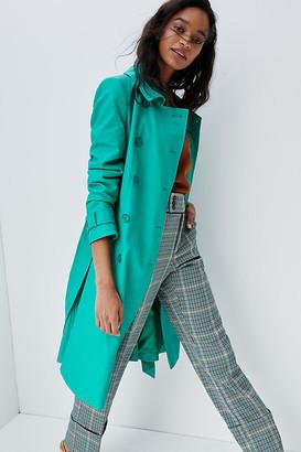 Helene Berman Emerald Faux Leather Trench Coat By Helene Berman London in Green Size XS