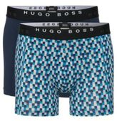 Hugo Boss Cyclist 2P FN Print Cotton Boxer Briefs, 2-Pack L Open Blue