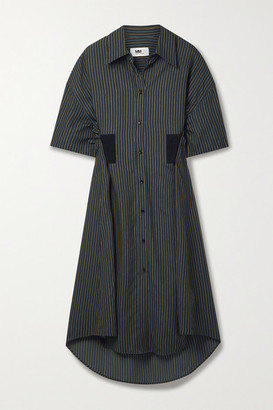 MM6 MAISON MARGIELA Pinstriped Twill Midi Shirt Dress - Black