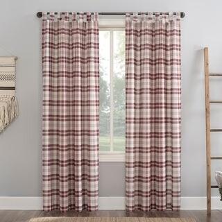No. 918 Blair Farmhouse Plaid Semi-Sheer Tab Top Curtain Panel