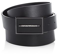 Giorgio Armani Men's Logo Plaque Buckle Coated Leather Belt