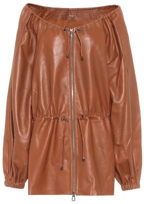 Dodo Bar Or Off-shoulder leather jacket