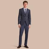 Burberry Slim Fit Lightweight Wool Part-canvas Suit , Size: 46r, Blue
