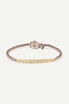 Brooke Gregson 18-karat Gold, Sterling Silver, Silk And Diamond Bracelet