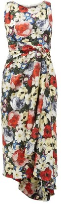 Erdem Rozaria Poppy Collage-print Silk-satin Dress - Womens - Black Multi
