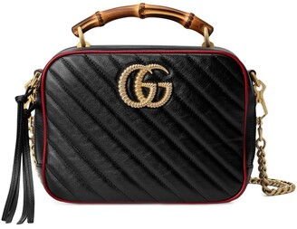 Gucci bamboo handle Marmont shoulder bag