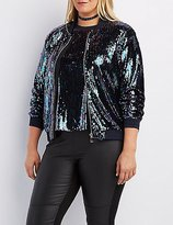 Charlotte Russe Plus Size Sequin Bomber Jacket