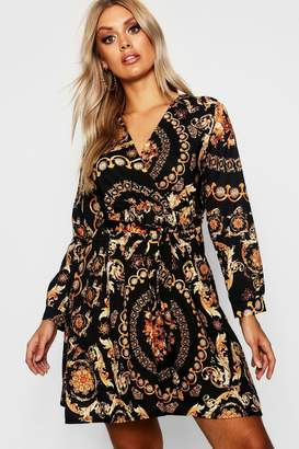 boohoo Plus Chain Printed Wrap Front Skater Dress