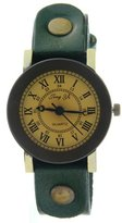 CLW Girls women Vintage Rusty Studs Cow Leather Strap Green Band Quartz Watch