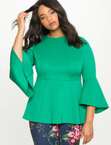 ELOQUII Plus Size Flare Sleeve Peplum Top