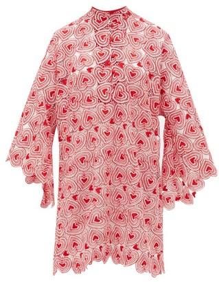 La Vie Style House - No. 106 Heart-lace Kaftan Dress - Womens - Red