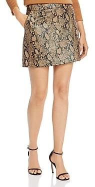 Frame Python-Embossed Leather Mini Skirt