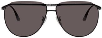 Balenciaga Black Logo Aviator Sunglasses