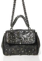 Ermanno Scervino NEW Black Distressed Leather Jeweled Satchel Handbag