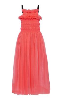 Molly Goddard Shelly Tie-Back Smocked Tulle Midi Dress
