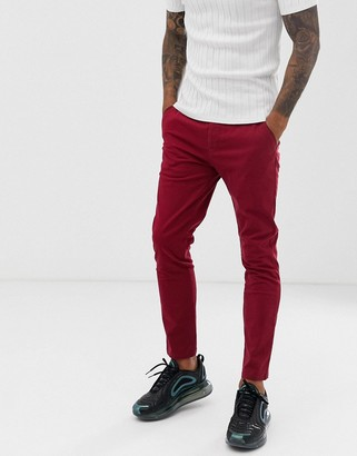 Asos Design DESIGN skinny ankle grazer chinos in wine red