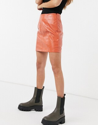 Heartbreak croc faux leather mini skirt co-ord in burnt orange