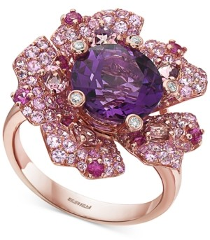 Effy Multi-Gemstone (6-1/5 ct. t.w.) & Diamond Accent Flower Ring in 14k Rose Gold