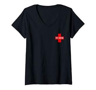 Womens Distressed Nurse Cross Corner Tee V-Neck T-Shirt