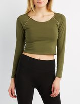 Charlotte Russe Zipper-Trim Crop Top