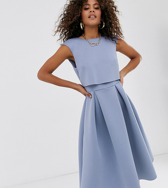 Asos Tall DESIGN Tall fold back crop top midi prom dress-Blue