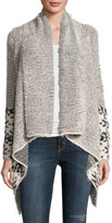 Neiman Marcus Shawl-Collar Open-Front Cardigan, Gray