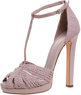 Alexander McQueen Lilac Woven Leather T-Bar Ankle Strap Platform Sandals Size 37
