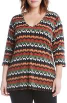 Karen Kane Plus Size Women's Print Knit Shark Bite Hem Top