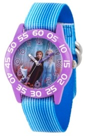 EWatchFactory Disney Frozen 2 Elsa, Anna and Olaf Girls' Purple Plastic Time Teacher Watch 32mm