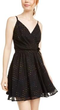As U Wish Juniors' Multicolored Metallic-Dot Chiffon Dress