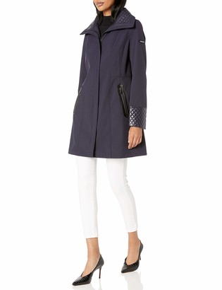 Via Spiga Women's Soft Shell Quilted Jacket W/Nylon Wing Collar