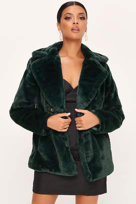 I SAW IT FIRST DOUBLE BREASTED FAUX FUR COAT