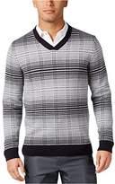 Alfani Mens Plaid Print Regular Fit Pullover Sweater