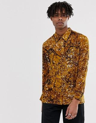 Sacred Hawk long sleeve western shirt in mustard print