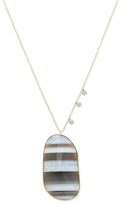 Meira T 14K Yellow Gold, African Blue Opal & 0.11 Total Ct. Diamond Pendant Necklace