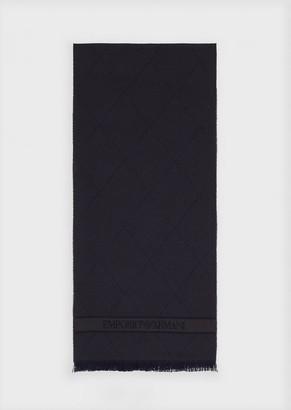 Emporio Armani Wool Scarf With Jacquard Motif